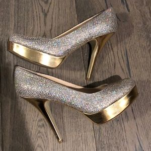 Silver and Gold Sparkly Pumps